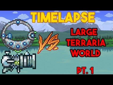 TIME-LAPSE: MINING ENTIRE TERRARIA LARGE WORLD! Pt.1