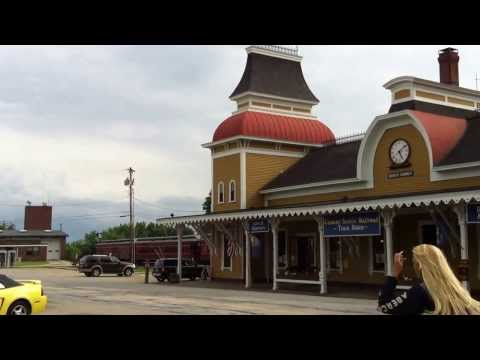 USA, New England, New Hampshire, North Conway, train station