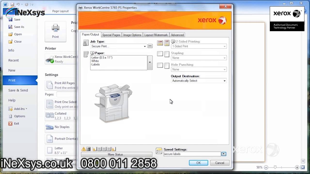How to Set Application Default Settings - Xerox Work Centre  7200/7220/7220i/7225/7225i