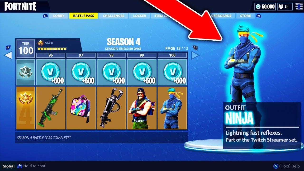 Fortnite Season 4 Tier 100 Quot Ninja Quot Skin In Fortnite All Season 4 Battle Pass