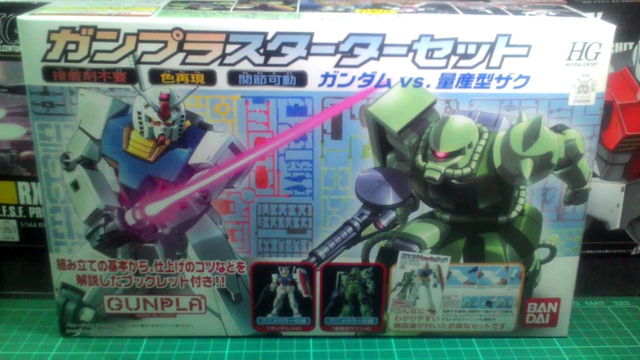 Gundam Starter Kit Hg Rx 78 Vs Zaku Ii Youtube Mg Rx78 2 Verka 114215