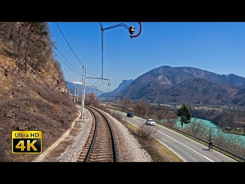 4K CABVIEW Jesenice - Ljubljana -- Car transporter train
