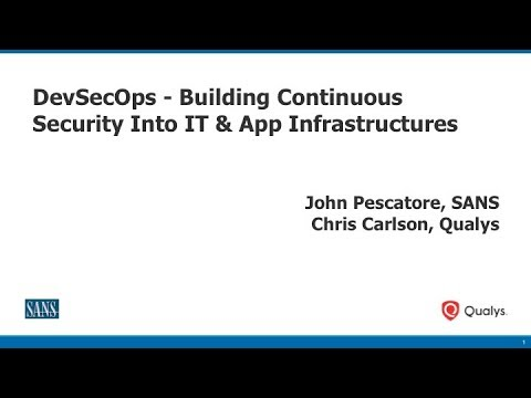 DevSecOps - Building Continuous Security Into IT & App Infrastructures