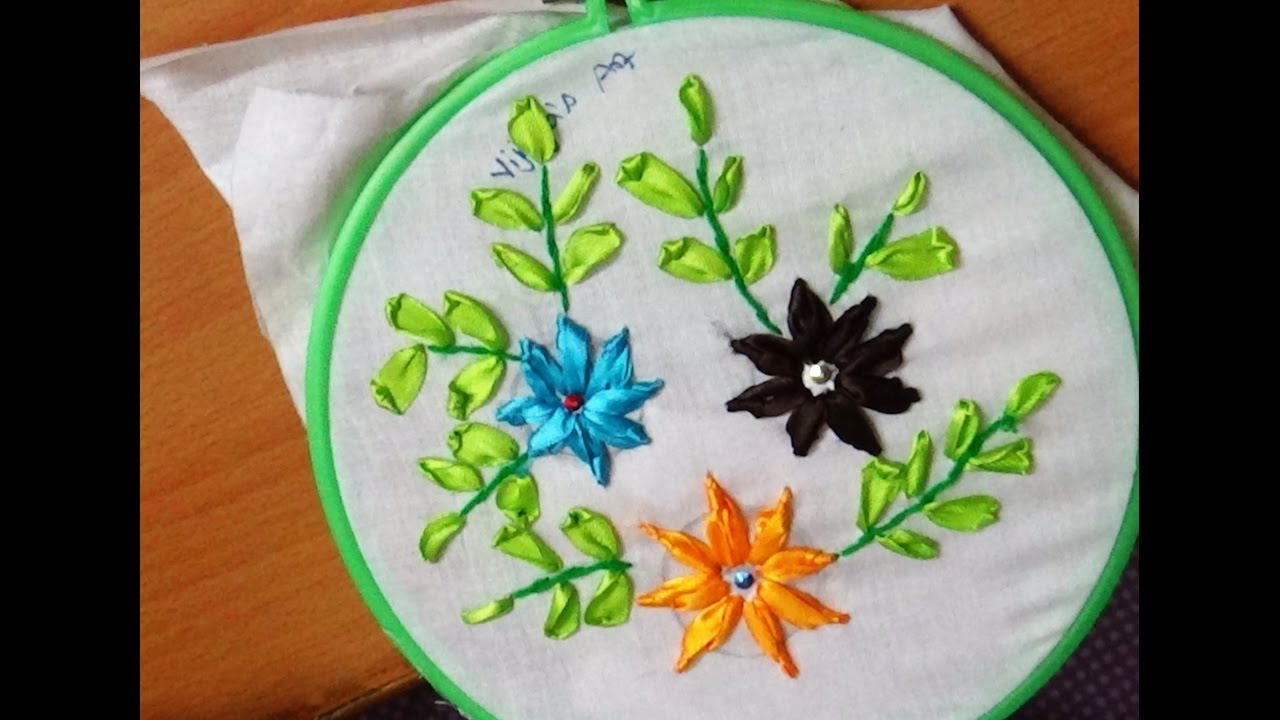 Ribbon embroidery beautiful flower designs youtube