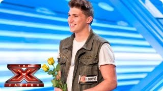 Luke Britnell sings his own song Think Positive - Room Auditions Week 1 -- The X Factor 2013