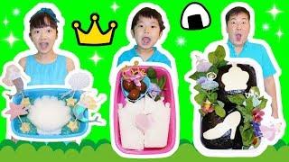 ★「プリンセスお弁当作り対決~!」姫おにぎり登場!★Princess box lunch cooking★