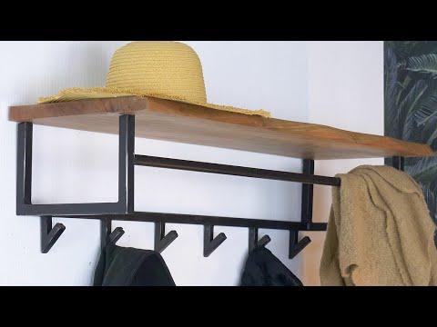 Industriële kapstok Martha acaciahout 100 cm 6 haaks hoedenplank