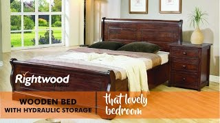 Wooden bed with hydraulic storage. Indian furniture by Rightwood furniture