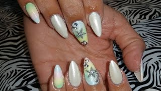 Acrylic Nails L Pastel Ombre & Seashells L Nail Design L Upload