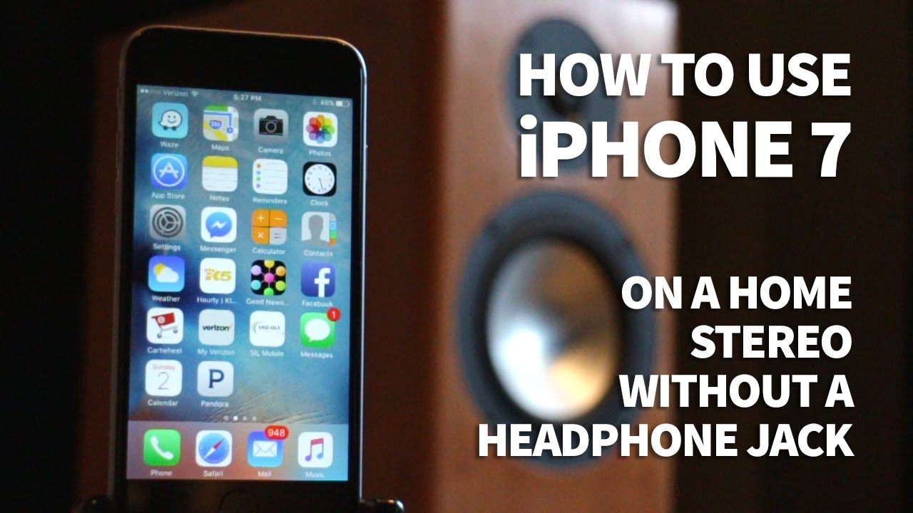 sports shoes 8e03c 3e66f How to Use iPhone 7 on Home Stereo Aux with No Headphone Jack - Listen to  Music on a Receiver