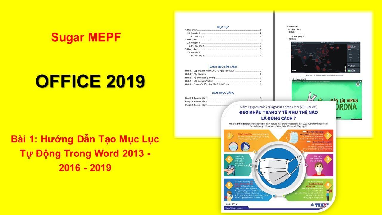 Bài 1: Hướng Dẫn Tạo Mục Lục Tự Động Trong Word 2013 - 2016 - 2019   Sugar MEPF
