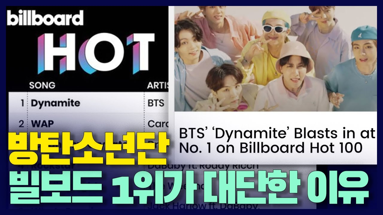 "Ë°©íƒ""소년단 ˹Œë³´ë""œ 1위가 ˌ€ë‹¨í•œ ̝´ìœ Bts Dynamite Debut At 1 On Billboard Hot 100 Is Very Lit Because ˋ¤ì´ìŠˆ Youtube"