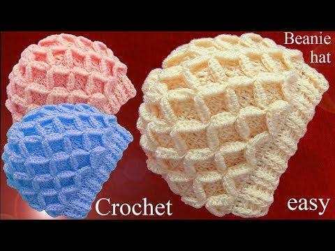 Gorro tejido en punto de rombos en relieve 3D a Crochet tallermanualperu