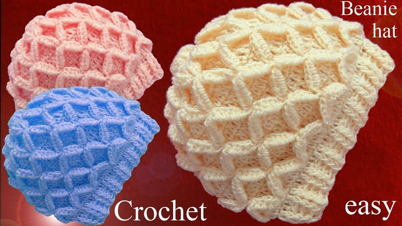 Gorro Tejido En Punto De Rombos En Relieve 3d A Crochet Tallermanualperu Viyoutube