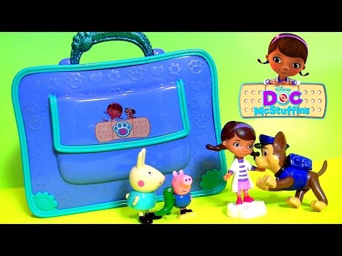 Paw Patrol Chase Hurt His Paw It's Time For A Check Up With Doc McStuffins Doctor's Surprise Bag