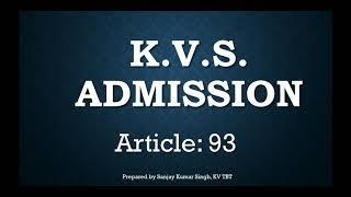 KVS LDE EXAM ADMISSION GUIDELINES (Part 1)