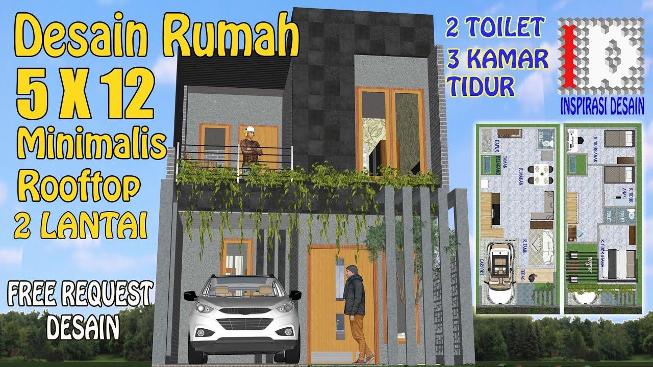 Desain Rumah Rooftop Minimalis 5x12 2 Lantai I Rumah5x12 I Rumahrooftop I Rumah3kamartidur Youtube