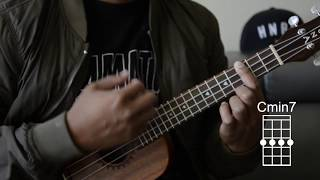 how to play c, cm, c7, cmaj7, and cmin7 - ukulele chords