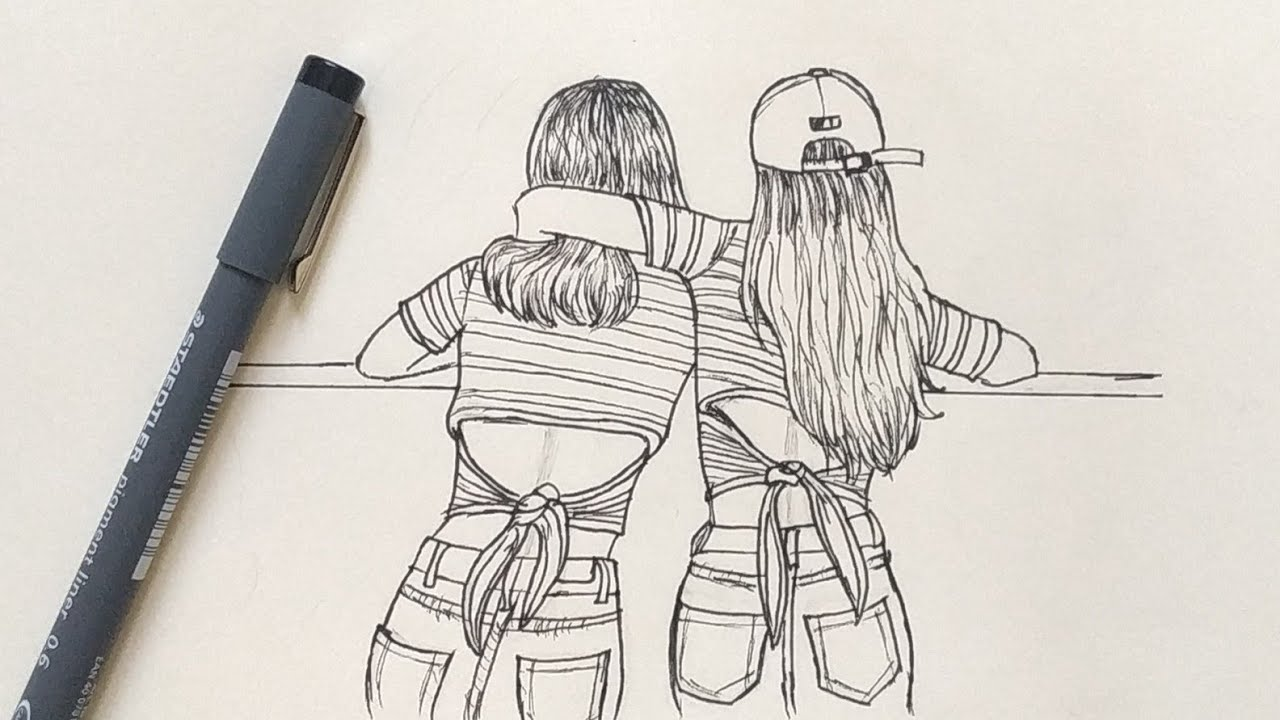 How to Draw Best Friends Easy | Step by Step - YouTube