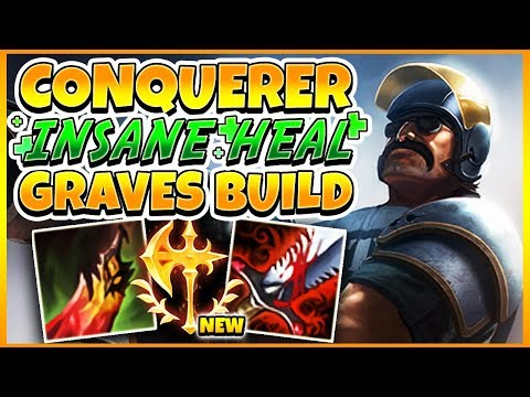 NEW CONQUEROR GRAVES *INSANE HEALING + 1v5 PENTA* | League of Legends