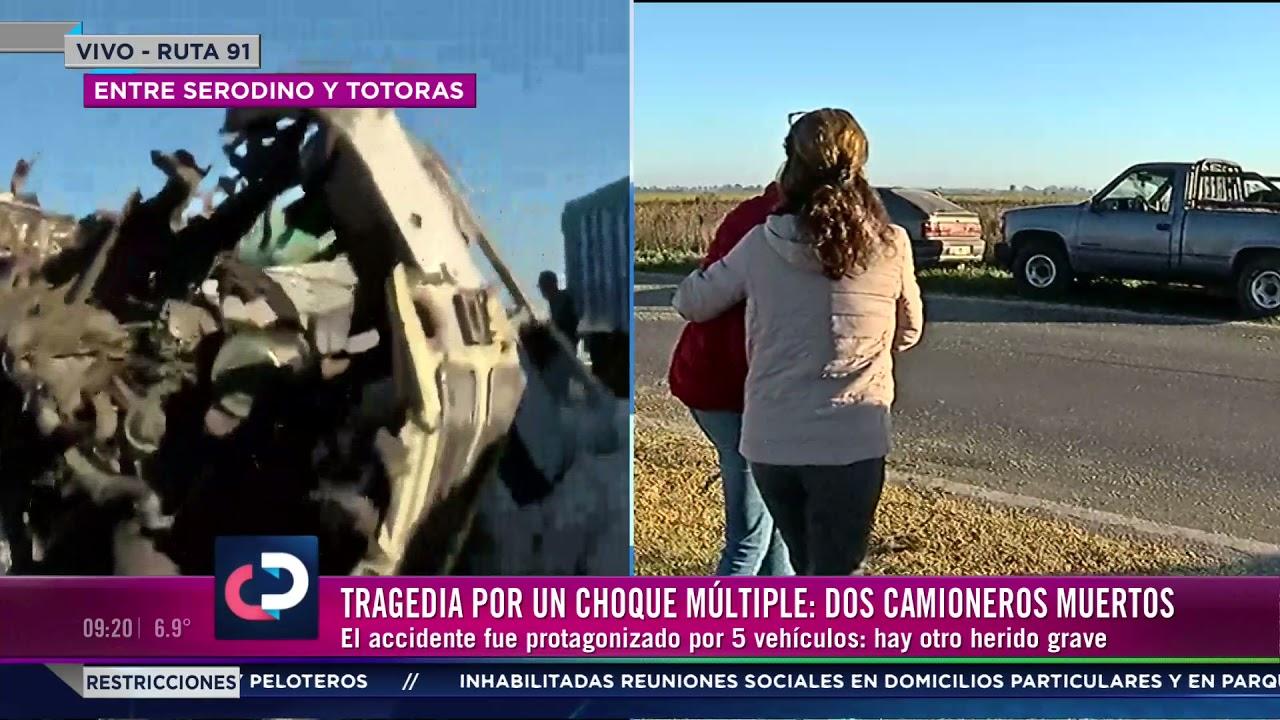 Dos camioneros muertos tras chocar en ruta 91