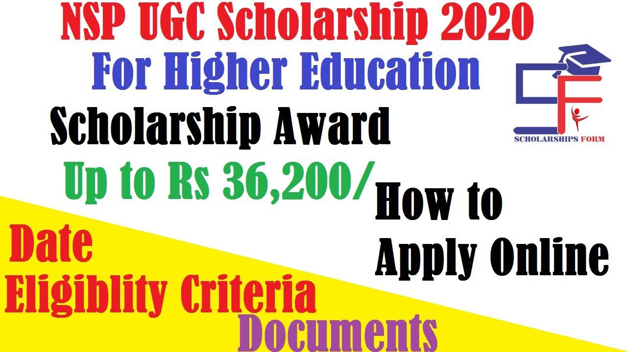 NSP UGC Scholarship 2020  Application Form, Eligibility, Date