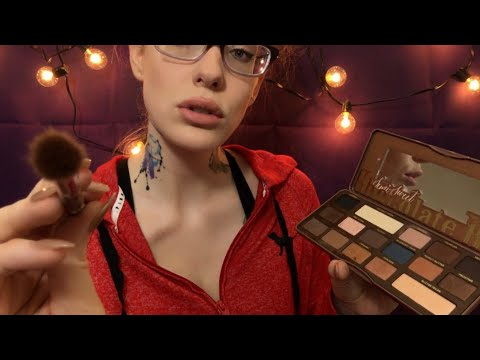 ASMR   Doing your makeup and softly chit chatting   Putting ur pretty self to sleep