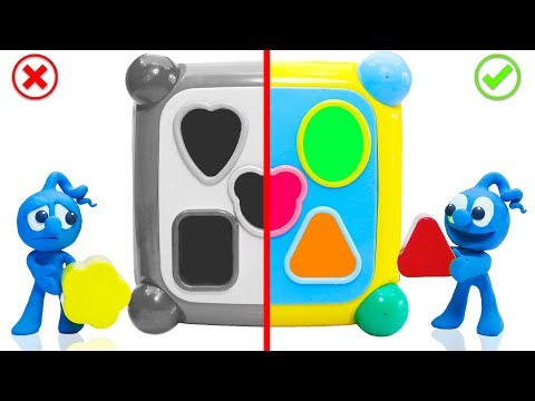 CLAY MIXER LEARNING SHAPES TOYS 💖 Stop Motion Cartoons Animation