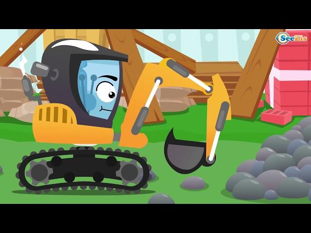 Bagger Und Traktor Kinderfilm Bagger Gräbt Grube Cartoon