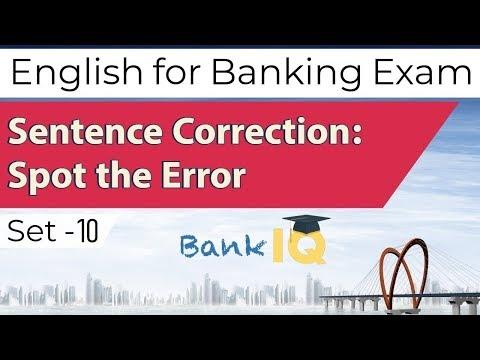Learn English For Bank Exams Set 10, Sentence Correction, Spot The Error In The Sentences