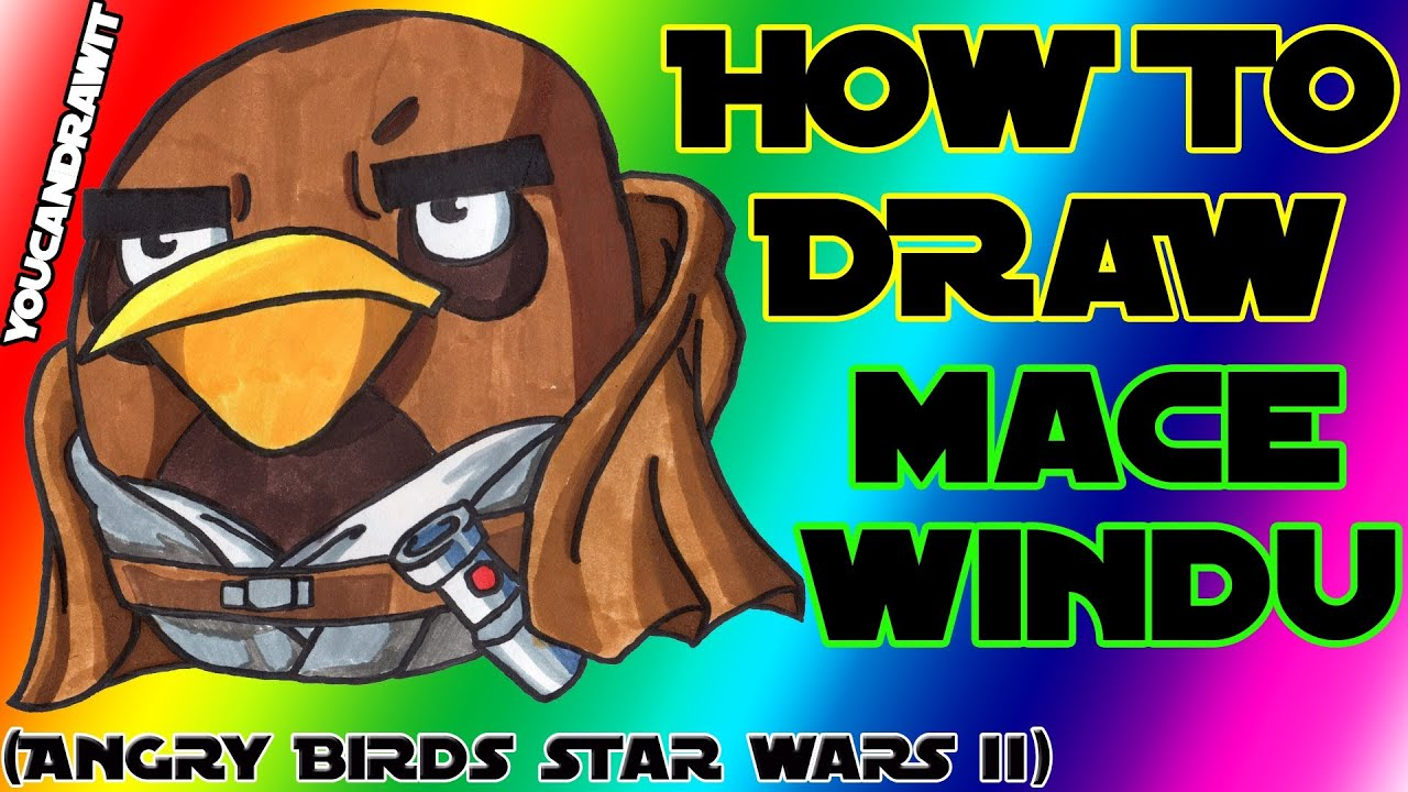 how to draw mace windu bird from angry birds star wars 2