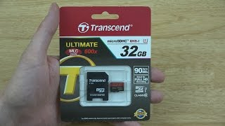 transcend microSDHC Class 10 UHS-I 600x (Ultimate) Unboxing and Read/Write Tests