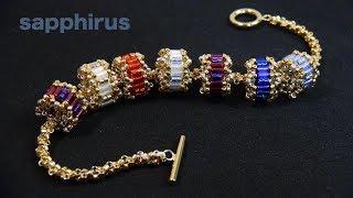 【ビーズステッチ】シードビーズで作る!ロンデルの作り方☆ブレスレット How to make a Beaded Rondelle with seed beads (Cylinder/Bugle).