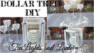 DIY DOLLAR TREE BLING TEALIGHT HOLDER AND LANTERN DECOR | PETALISBLESS🌹