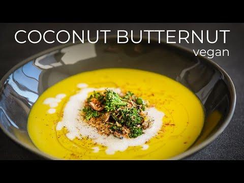 COCONUT BUTTERNUT SQUASH SOUP RECIPE | EASY VEGAN THANKSGIVING MEAL IDEA