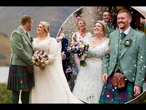 Michelle McManus stuns on her wedding day in elegant bridal gown as she enjoys romantic beach