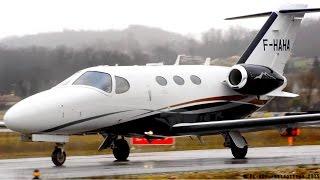 Cessna 510 Citation Mustang F-HAHA close landing, taxi & takeoff at Albi-Le Séquestre [LBI/LFCI]