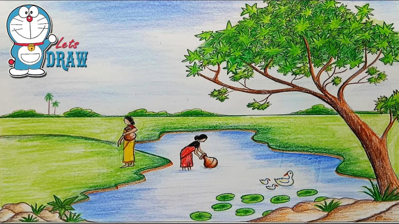 How To Draw Scenery Of Pond Ghat Step By Step Very Easy Youtube