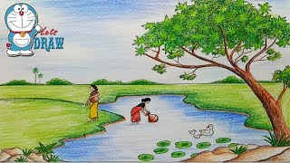 How to draw  scenery of pond ghat Step by step (very easy)