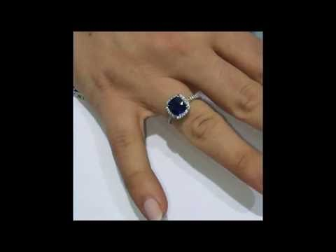 2.50 ct Cushion Sapphire and Diamond Halo Engagement Ring