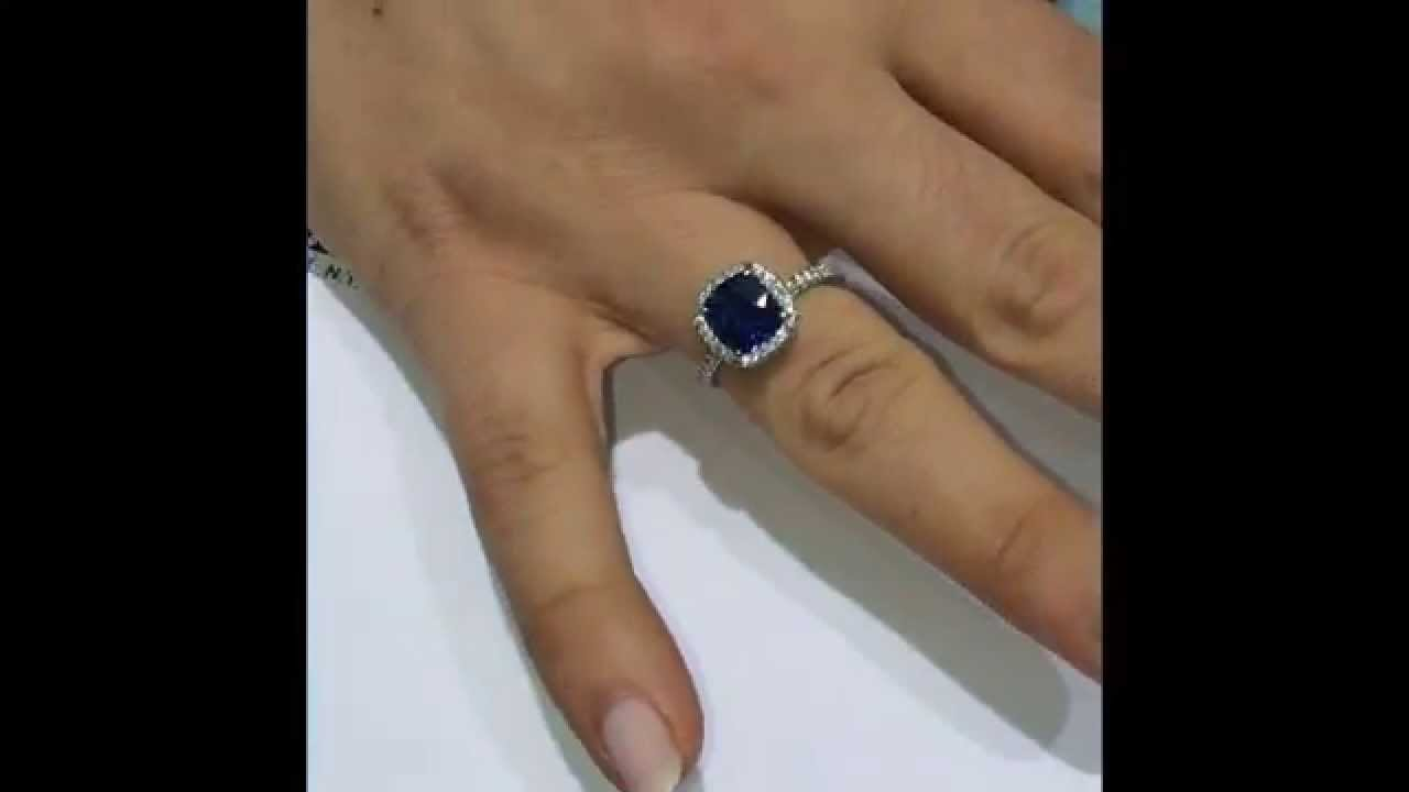 halo engagement youtube watch ct carat cushion sapphire and diamond ring