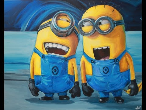 Painting Minions (Despicable Me) - Acrylic on Canvas