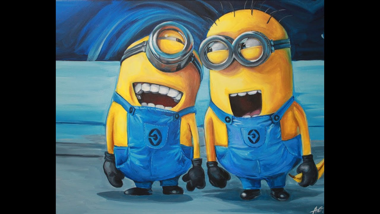 Canvas Painting Painting Minions Despicable Me Acrylic On Canvas Youtube