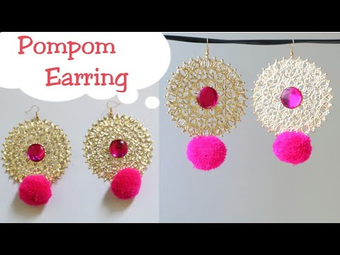 DIY designer earring with pompom|Pompom earrings|Making pom pom dangle earrings|Pink color pompom