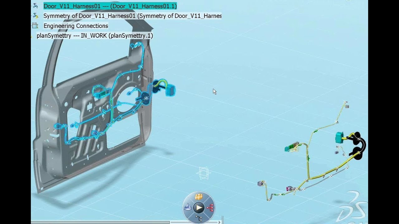 catia v6 electrical wire harness design engineering flexible harness symmetry capability [ 1280 x 720 Pixel ]