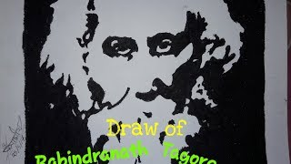 Draw of Rabindranath Tagore by black color | Rong-Bahar Art |