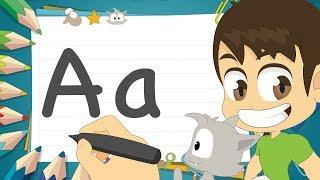 حرف (A)   تعليم كتابة حرف (A) باللغة الإنجليزية للاطفال - تعلم الحروف الإنجليزية مع زكريا