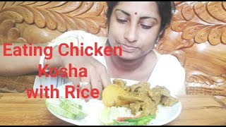 Eating Chicken Kosha with Hot Rice - Eating Indian Lunch - Foodie Dipa