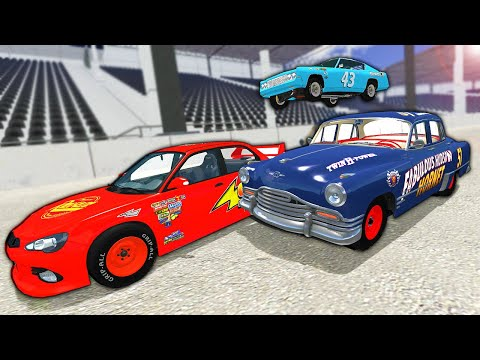 Lightning McQueen From The Cars Movie Crashes At Daytona! - BeamNG Gameplay Race & Crashes