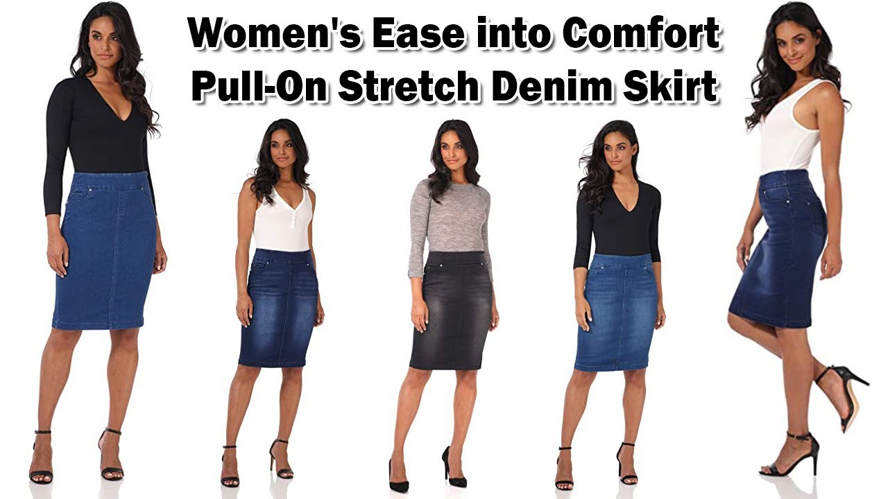 Rekucci Jeans Womens Ease into Comfort Pull-On Stretch Denim Skirt